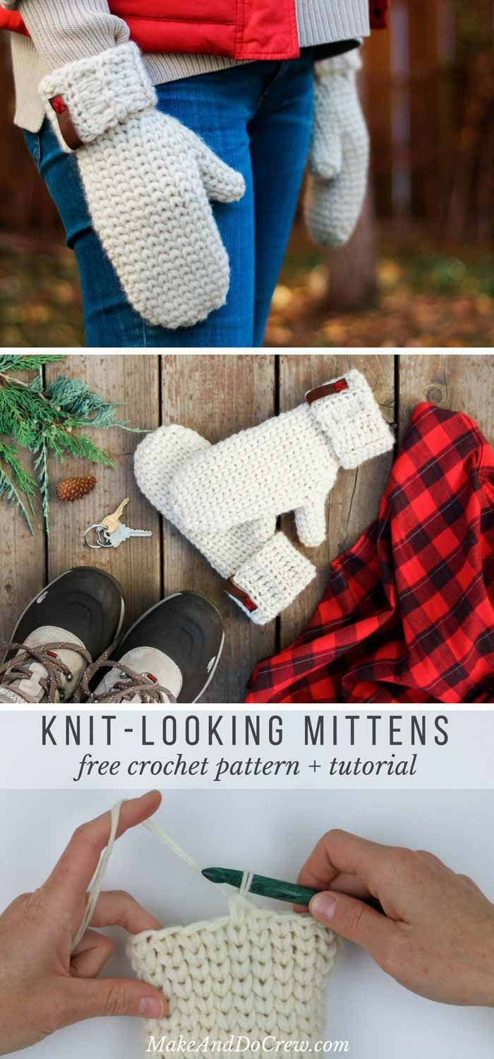 Looks so much like knitting! This free crochet mitten pattern uses the waistcoat stitch (aka the center single crochet stitch) to create a classic knit look. And the Lion Brand Fishermen's Wool makes them naturally water resistant! Get the free Morning Mittens pattern from Make & Do Crew. via @makeanddocrew  #crochetmittens #knitlikecrochet