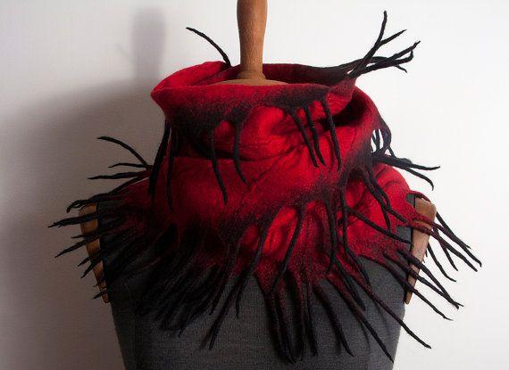 Felted Scarf, Red Black Wool Scarf, Red Felted Scarf Shawl Wrap, WinterScarf, Hand Felted Scarf, Womens Scarf, Shibori scarf, Design Shawl