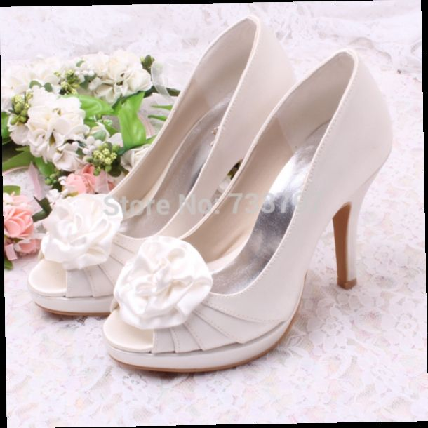 42.30$  Buy now - http://alirhr.worldwells.pw/go.php?t=1622018461 - Wedopus MW149 Sweet Style Lady Pump Heel Platform Shoes Bridal Wedding White Heels with Flower