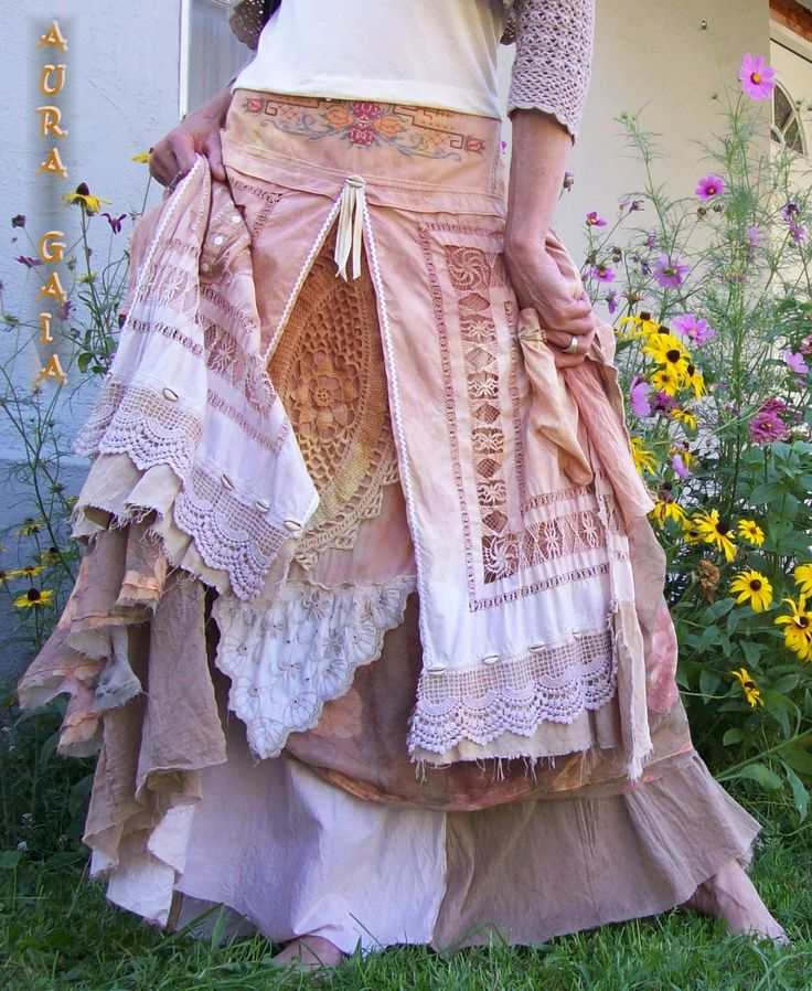AuraGaia ~ Alluraiah ~ Bustleback Skirt Upcycled OverDyed Lace Linens Plus! fits 2-2X; overdyed in soft hues of salmon, peach, ecru, tan & some white and green and dusty rose...done in linen, cotton, rayon with a ricrac, doilies & vintage linens with ahmazing stitchery on them from embroidery to lace to openwork to counted cross stitch! 2 pockets. layered with under and over skirts plus. rear ruffs ♥. a tad of hand sewn ruching. beads. cowrie shells. love