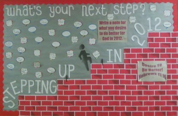 Stepping Up Bible bulletin board