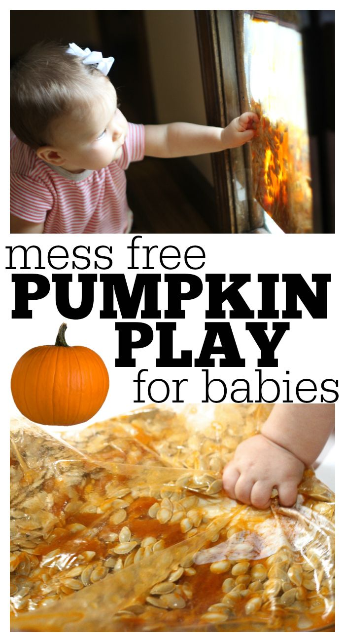 Encourage your baby to explore the unique texture of the inside of a pumpkin without it ending up in his/her mouth (or a giant mess)!