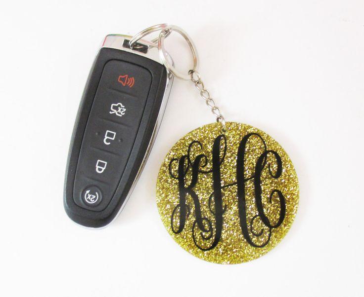Monogram Keychain, Glitter Key Chain, Custom Key Ring, Personalized Key Chain, Glitter Keychain, Glitter Monogram, Monogrammed Gift by naptimedesignco on Etsy