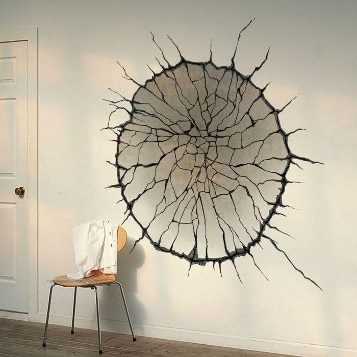 vinilos pared, decoración pared blanca, vinilo con efecto 3D como tronco de árbol que sale de la pared