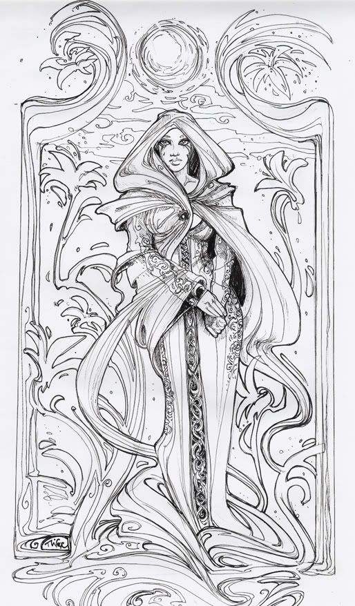 and the next one is an art nouveau inspired ladythis movement is one adult coloring pagescoloring - Art Nouveau Unicorn Coloring Pages
