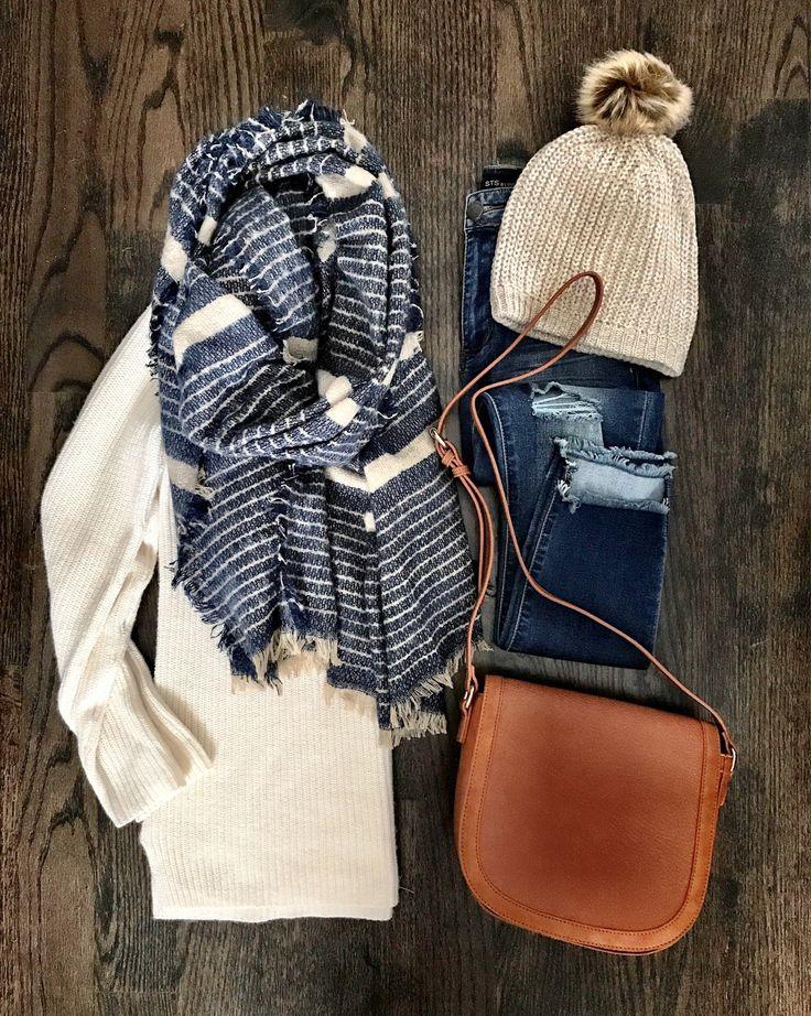 IG: @mrscasual | Stripe scarf, cream sweater, skinny jeans, pom pom beanie, & brown crossbody bag