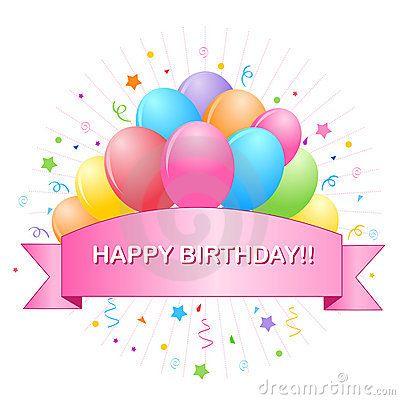 Happy Birthday Balloons Banner Stock Photos - Image: 24917593