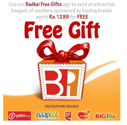 Free Yebhi Rs. 100 coupon, CCD Buy 1 Get 1 coupon & more from Badhai Gift