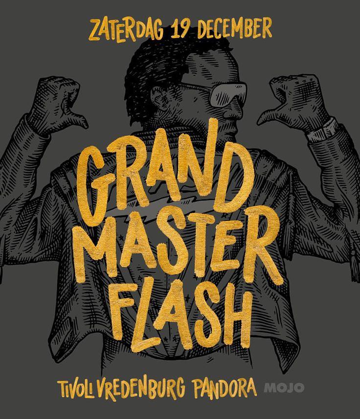 "Tim Bontan ✏️ on Instagram: ""Latest collabo with @resuk for @tivolivredenburg GRAND MASTER FLASH poster design fornuis show in december. #goldlettering #handlettering #grandmasterflash #posterdesign #hiphop #bijdevleetclientwork #bijdevleetxresuk"""