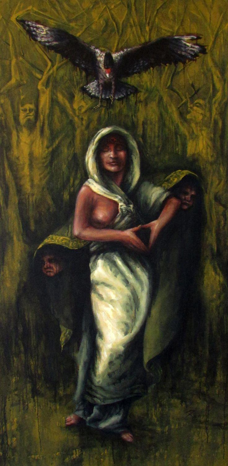 Enmienda del Traro, técnica mixta sobre tela, 200 x 100 cm. Amendment Traro , mixed media on canvas