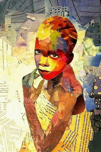 """""""Vulnerable girl"""" by Benon Lutaaya from Johannesburg, South Africa. I love seeing words in this piece and I am struck by how Lutaaya makes you feel every emotion in the subject's face. Vulnerability is there, but so is strength. This is a collage and not a quilt, but the effect of it!!!"""