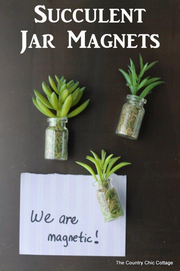 Succulents Crafts and DIY Projects - DIY Succulent Jar Magnets - How To Make Fun, Beautiful and Cool Succulent Cactus Wedding Favors, Centerpieces, Mason Jar Ideas, Flower Pots and Decor http://diyjoy.com/diy-ideas-succulents-crafts