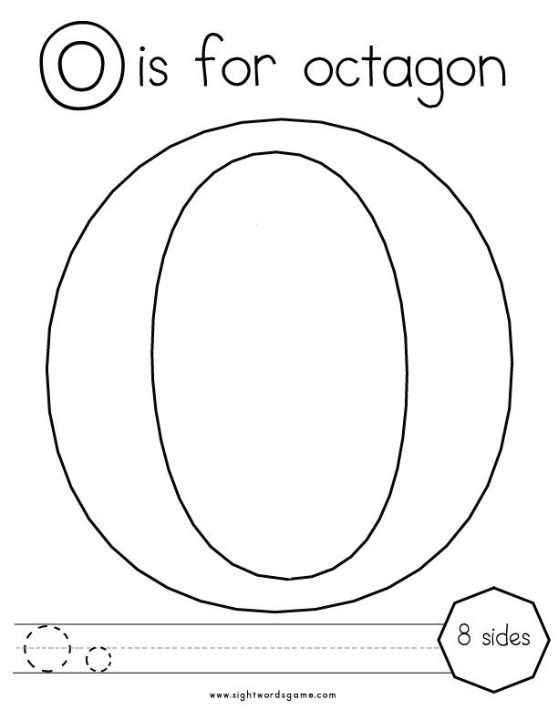 letter o coloring page 2
