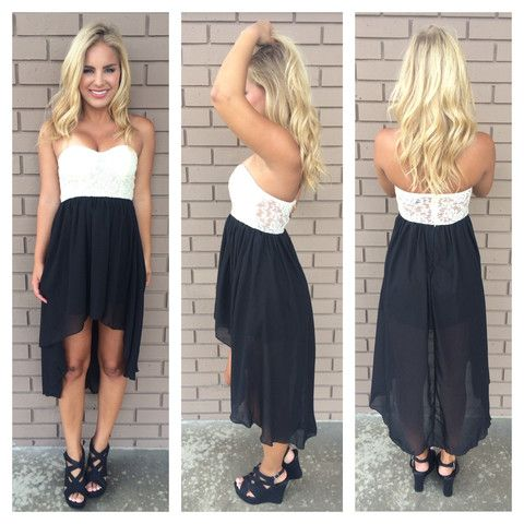 Black Hi Low Ivory Lace Bodice Strapless Dress Would Be So Cute To Wear Under A Cap And Gown For Graduation S T Y L E Pinterest Dresses