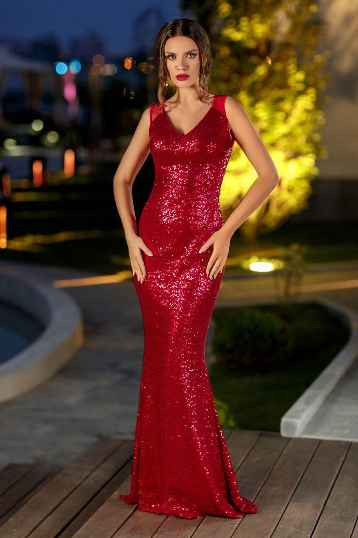 Rochie Irresistible Rosie 399 lei Rochie lunga din paiete rosii