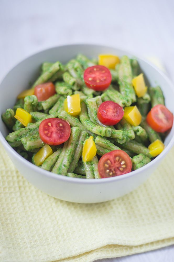 Radish #pesto #pasta with tomatoes and bell peppers