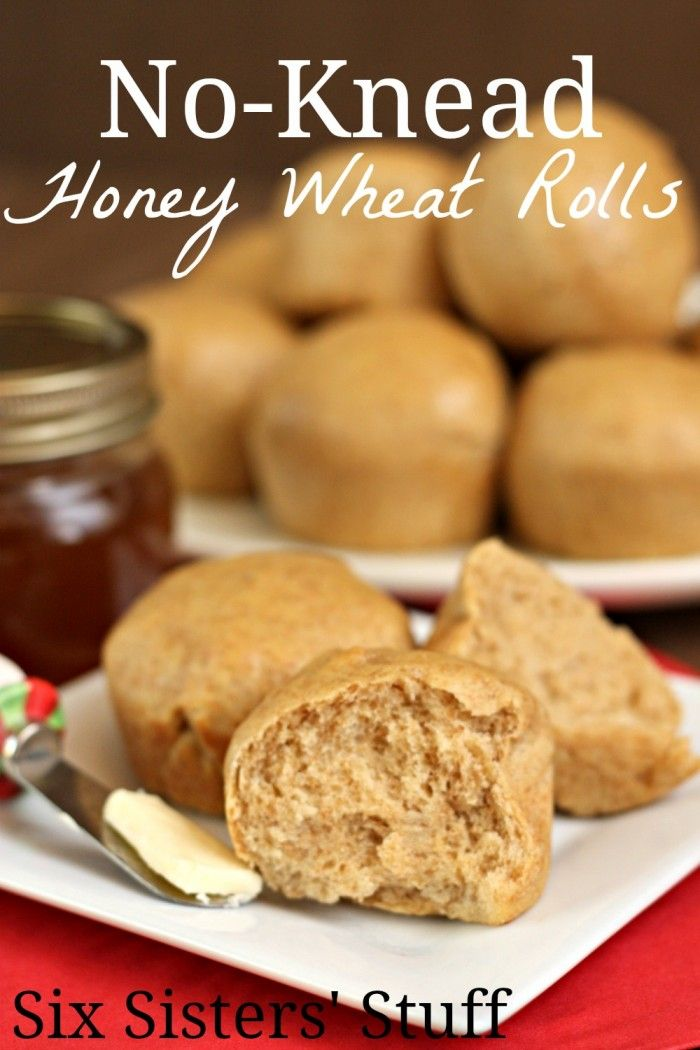 No-Knead Honey Wheat Rolls from Six Sisters' Stuff! #sixsistersstuff