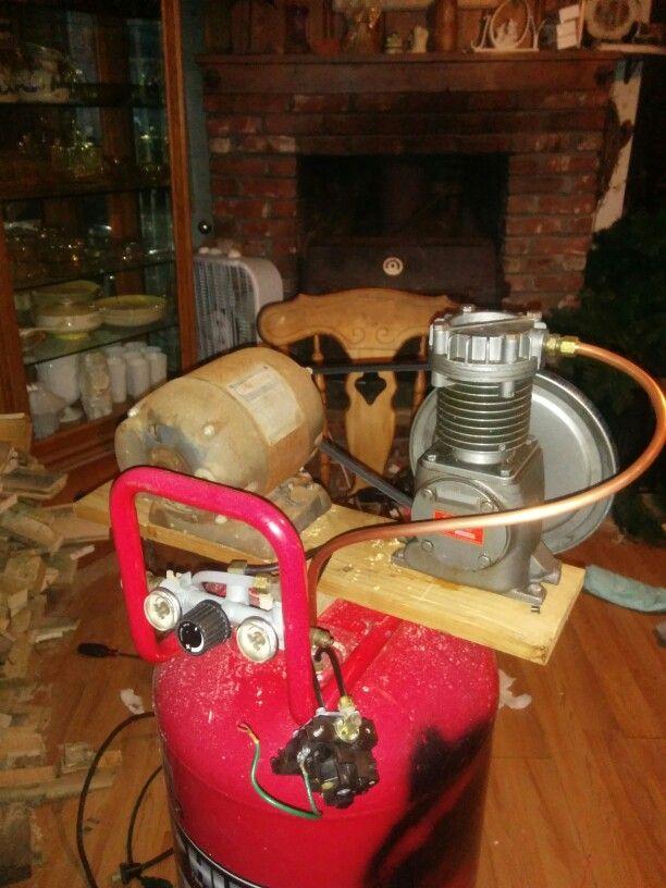 Home made compressor. #diy #compressor #air #homemade #dad #redneck # ...