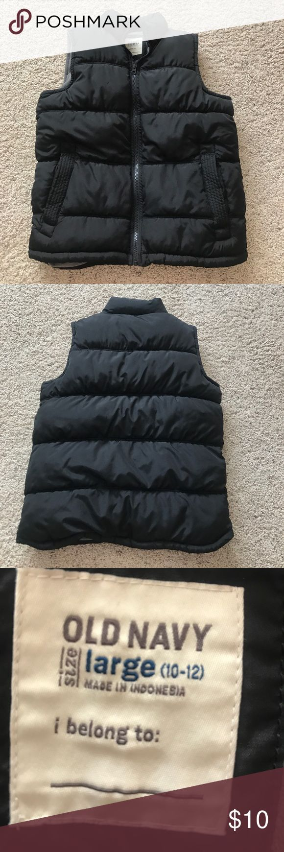 Old Navy puffer vest Puffer vest worn once!!!  Excellent condition!  Black with gray fleece inside. Old Navy Jackets & Coats Vests