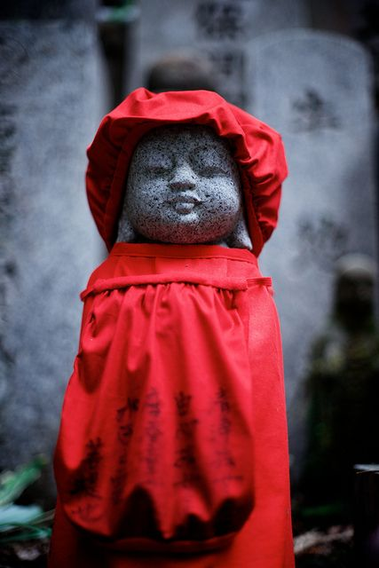 Cemetery for stillborn Babies-     Jizo Bosatsu Statue in Okuno-in Cemetery - Koya San, Japan