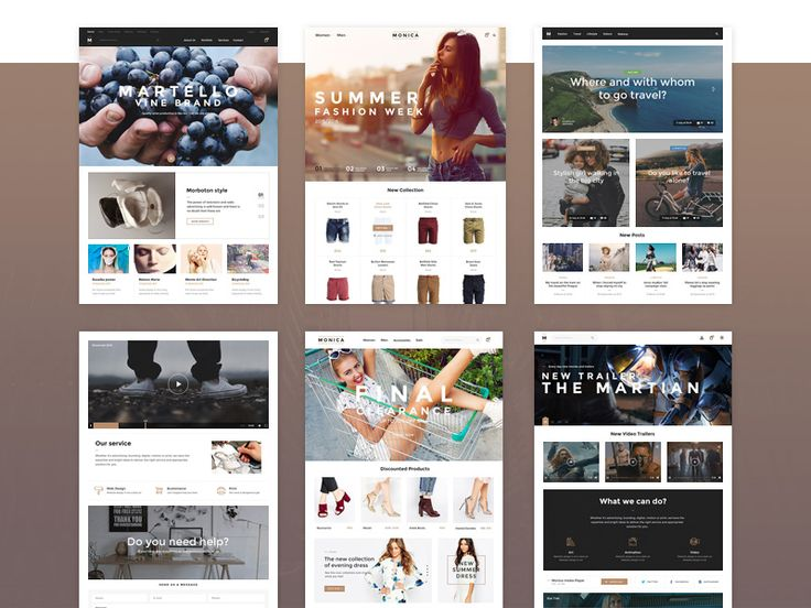 Monica UI Kit sample made with a bootstrap grid #ui #kit #bootstrap