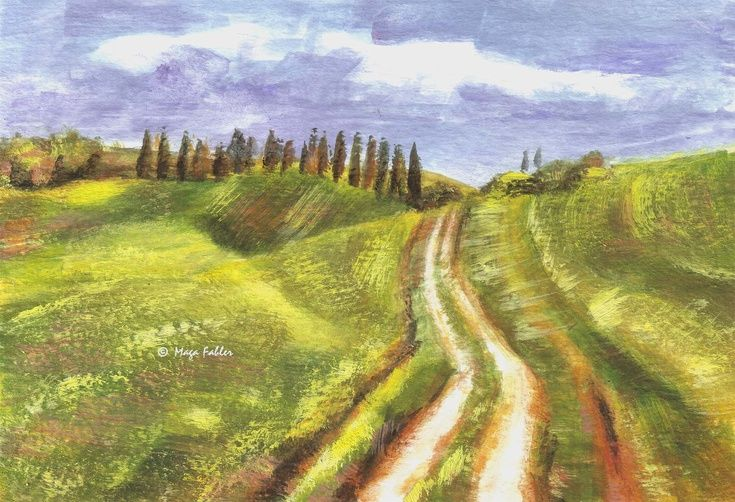 Green Fields of Val d'Orcia, Tuscany, Italy by Maga Fabler.  Original gouache painting on watercolor paper 13x18 cm (~ 5x7 in.)