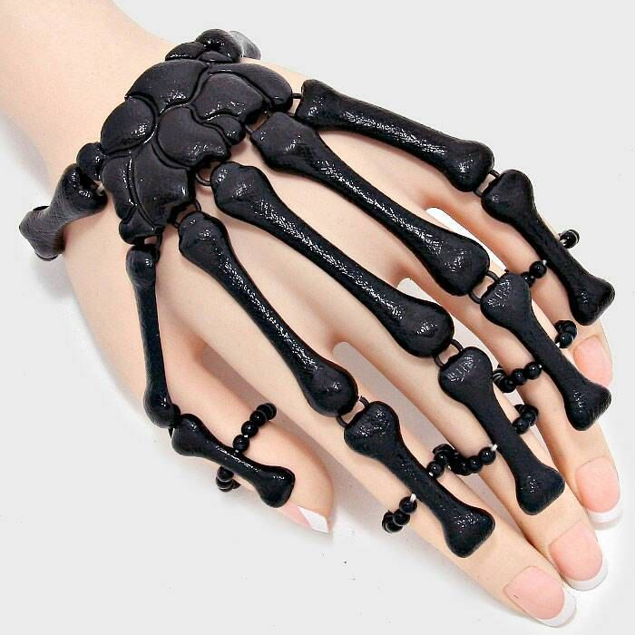 Skull Bracelet Ring Halloween Skeleton Stretch Bracelet Hand Chain Day of the Dead Steam Punk Gothic rings
