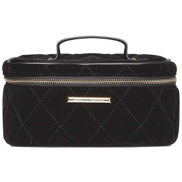 Dorothy Perkins Black Quilt Vanity Case (38 AUD) ❤ liked on Polyvore featuring black