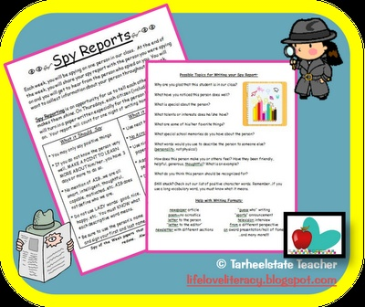 """I JUST MADE THIS RESOURCE FREE ON TPT and IT WILL STAY FREE...download now and take time to have your students share kindness and celebrate one another with their words...Turn your students into spy reporters--alternative to """"Star of the Week"""" (instead of one student getting accolades, each student gets appreciation each week)"""