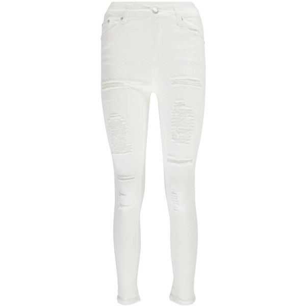 Boohoo Petite Abby High Rise Heavy Ripped Super Skinny Jeans ($35) ❤ liked on Polyvore featuring jeans, high-waisted skinny jeans, high waisted white skinny jeans, skinny jeans, distressed jeans and destroyed skinny jeans