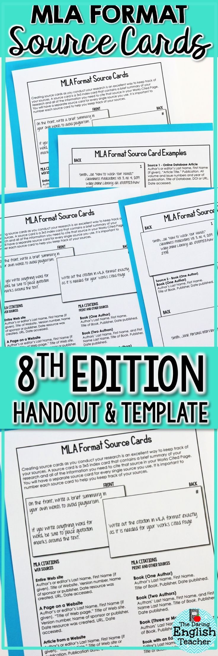 Help students master MLA Format with this handy source cards reference sheet and template.