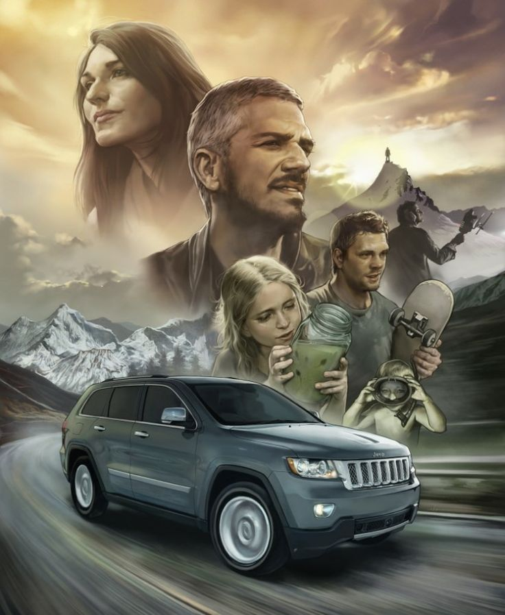'find something - to throw oneself' Chrysler 'Jeep' PR illustration.  2012. painter12