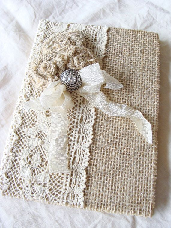 Burlap Lace Journal Diary Notebook Wedding Memory by ShabbySoul