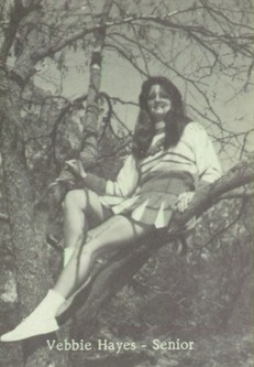 Cheerleader Vebbie Hayes in the 1977 yearbook of Marion High School in Marion, Illinois.