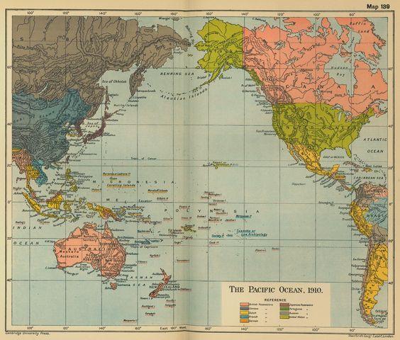 The Pacific Ocean in 1910 #map #pacificocean