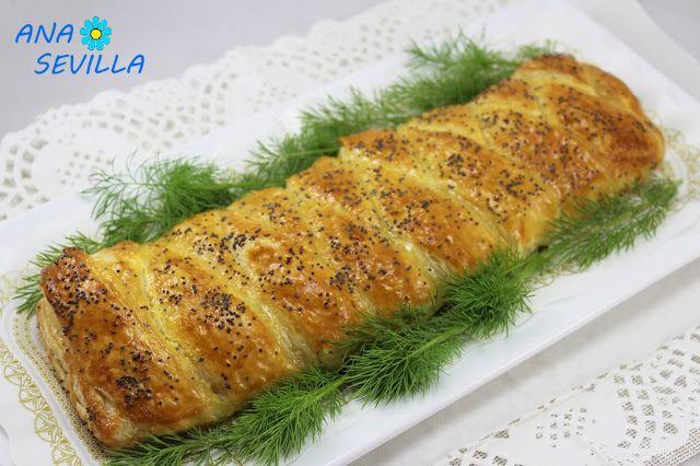 Trenza de hojaldre y salmón fresco cocina tradicional, salmón, hojaldre, salmón y gambas, trenza de hojaldre,