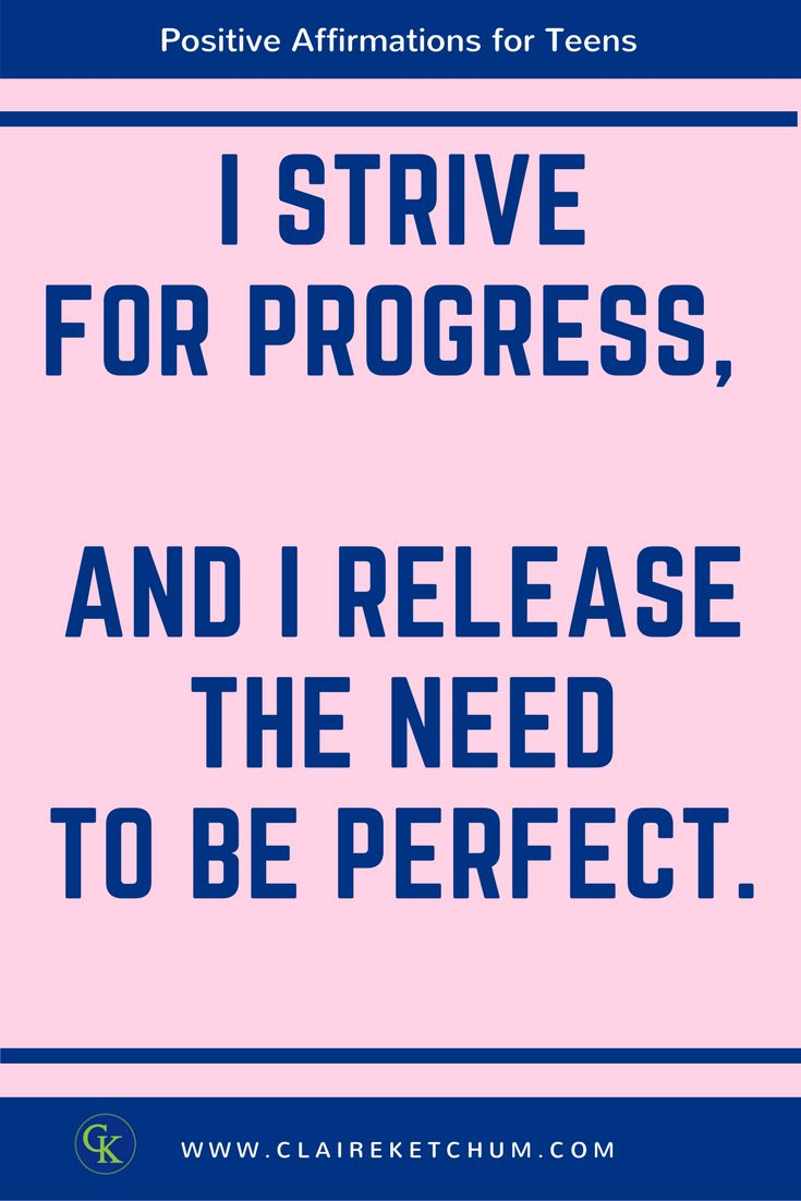 I strive for progress, and I release the need to be perfect.  Click through to learn my top 3 tips to help your teen stress less by striving for progress rathar than perfection.  #teens #stress # perfectionist