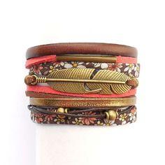 Bracelet manchette marron à fleur avec cuir marron