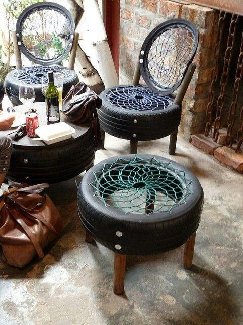 There are no directions unfortunately, but very cool use of old tires!