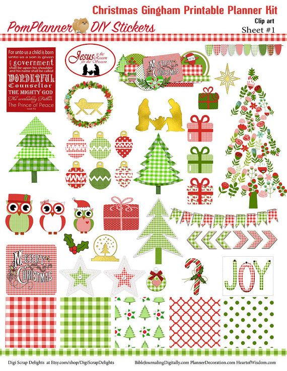 Gingham Christmas Printable MEGA Planner Kit  in Red & Green 4 PDFs, EC or Happy Planner, Nativity, Jesus is the Reason, OVER 300 Stickers!