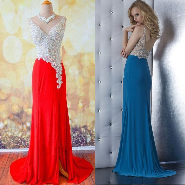 Deep V-neck Prom Dresses with Beaded Bodice, Red
