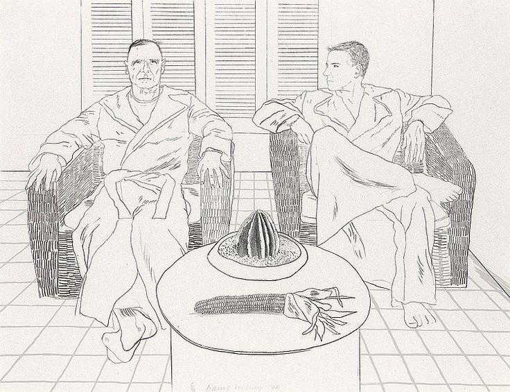 David Hockney, drawing of Christopher Isherwood and Don Bachardy