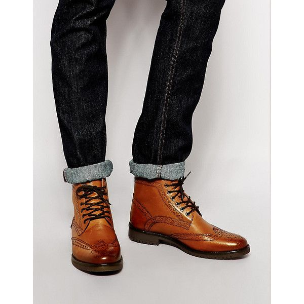 ASOS Brogue Boots in Tan Leather  ? liked on Polyvore featuring men's  fashion