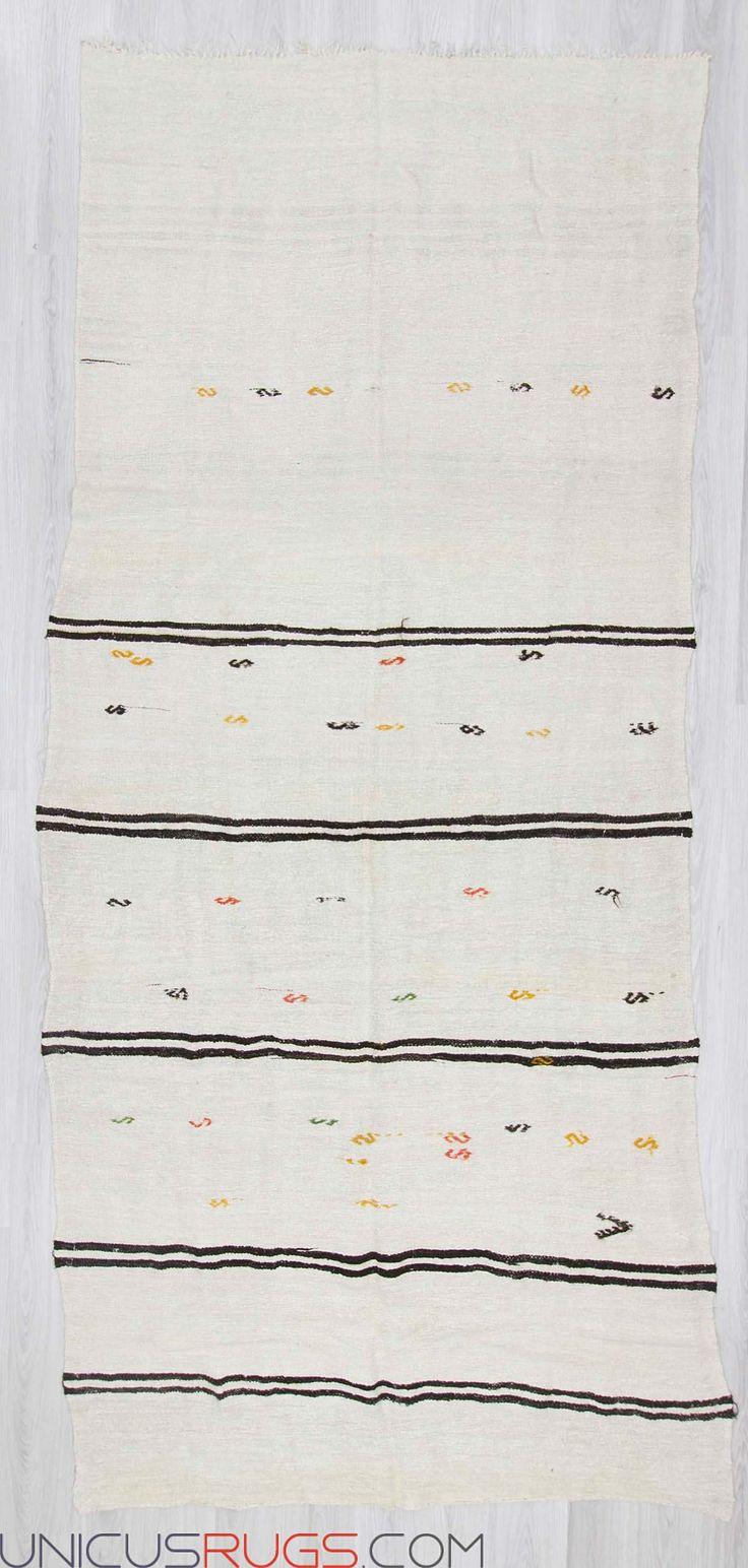 "Vintage hemp kilim rug from Yozgat region of Turkey.İn good condition.Approximately 50-60 years old. Width: 5' 9"" - Length: 12' 10"" Hemp Kilims"