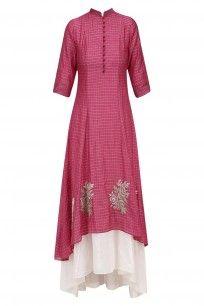Pink Rose Motifs Kurta with White Flared Pants #myoho #newcollection #shopnow #ppus #happyshopping