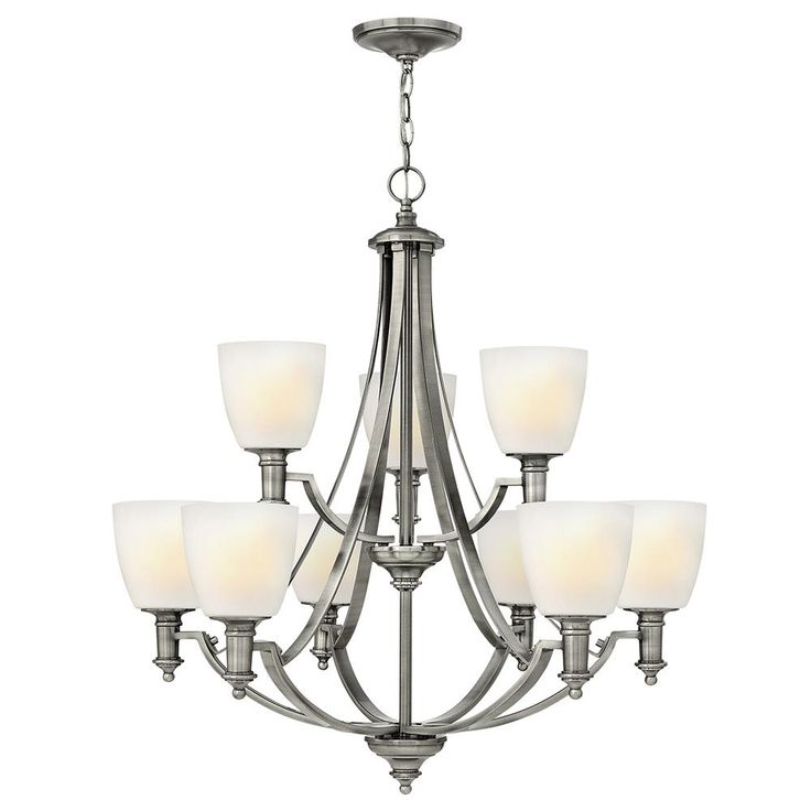 Truman antique nickel nine light chandelier