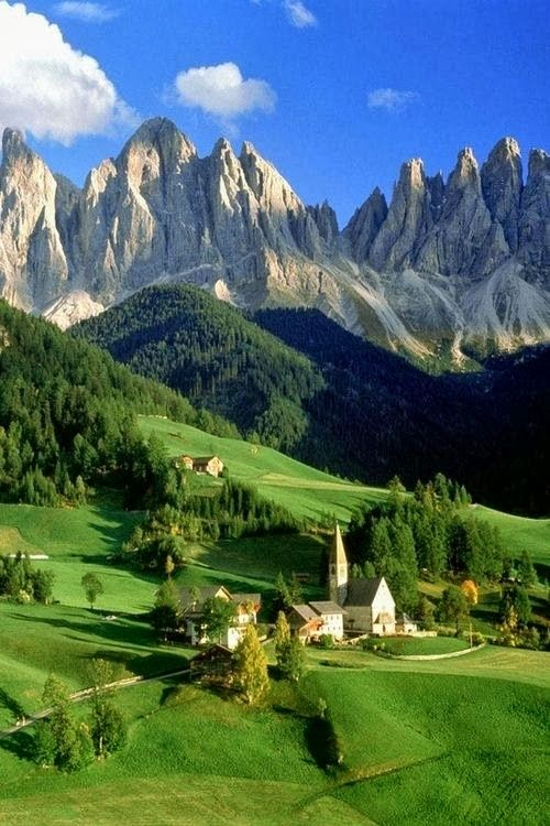 The Dolomite Mountains, from St. Magdalena, Italy