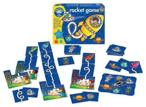 Orchard Toys Rocket Game by Orchard Toys. $19.99. Develops counting and matching skills. Links with National Curriculum Maths Key Stage 1. Encourages social interaction and turn taking. Collect the most loops as you blast into space in this fun, counting and matching game! Choose a launch pad and blast into space collecting as many loop-the-loops as you can on the way! At the end of the game count the loops and the player with the most wins! For 2 - 6 players. 4 - 7 Years