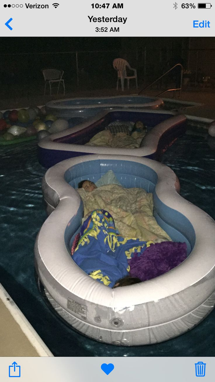 My daughter had a summer party & used half-priced blow-up pools as waterbeds in our big pool! She found this idea on Pinterest
