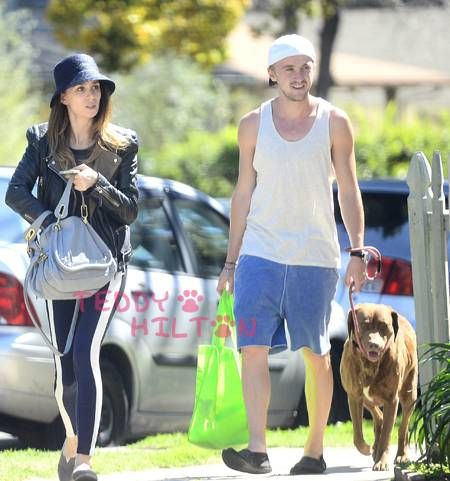 Tom Felton and Jade Olivia walk their doggy together!